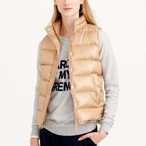 J. Crew | Camel Shiny Down Puffer Vest Small